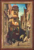 """Bild """"Der Briefbote im Rosenthal"""" (1858), gerahmt"""