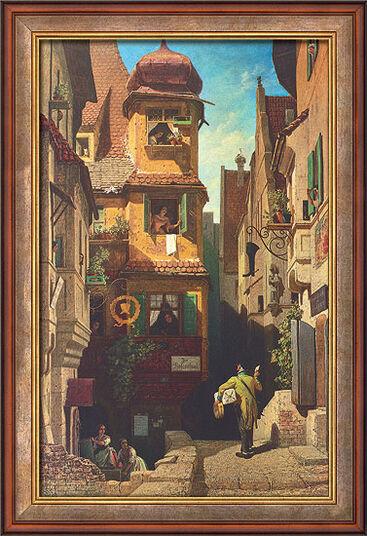 """Carl Spitzweg: Bild """"Der Briefbote im Rosenthal"""" (1858), gerahmt"""