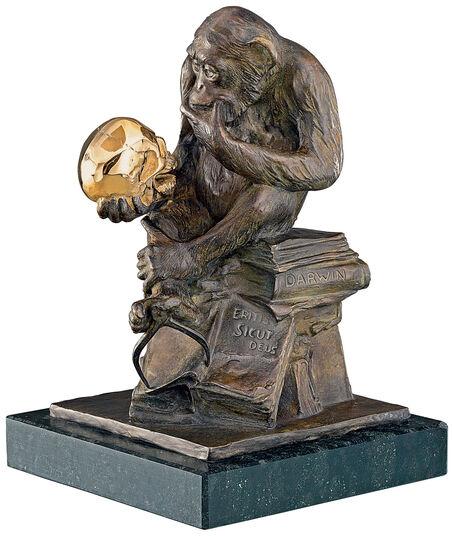 "Wolfgang Hugo Rheinhold: Sculpture ""Monkey with Skull"" (1892-93), version in bronze"