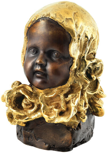 "Cyrus Overbeck: Sculpture ""Girl with A Golden Shawl"", Bronze Partially Gilded"