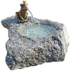 "Fountain Set ""Frog King Georg"", Bronze on Stone"