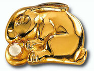"""Chinesisches Tierkreiszeichen """"Hase"""" mit Glücksstein Bergkristall, Collier"""