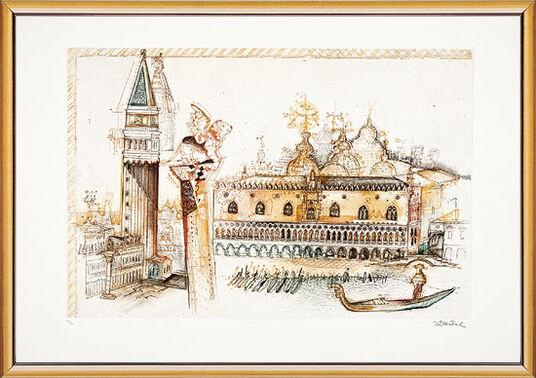 "Simon Dittrich: Bild ""Venedig, Dogenpalast"", gerahmt"