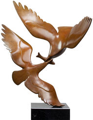 "Sculpture ""Two Seagulls with Fish Nr. 2"", Brown Bronze"