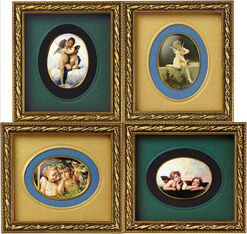 Four miniature angel paintings of Thuringian porcelain in set