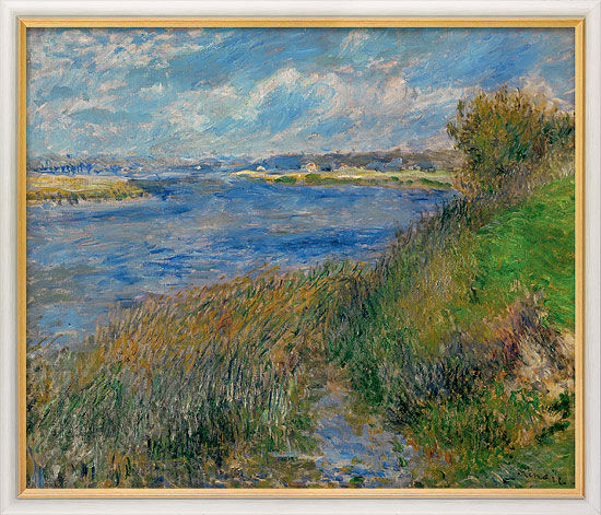 """Painting """"Seine at Champrosay"""" (1876) in a frame"""