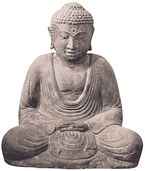 """Gartenskulptur Japanischer Buddha """"Daibutsu"""", Steinguss Antikfinish"""
