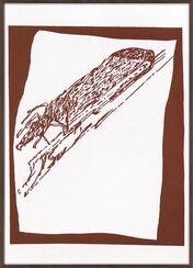 """Bild """"Hirsch auf Urschlitten"""" (1984)"""