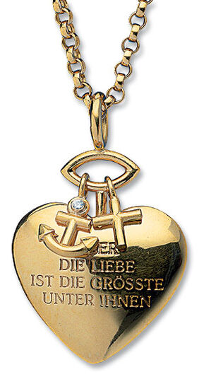 "Christiane Wendt: Pendant ""Glaube, Liebe, Hoffnung"" (Faith, Hope, Love) with Chain"