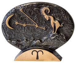 """Sternzeichen-Skulptur """"Widder"""" (21.3.-20.4.), Bronze"""