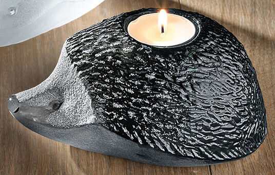 "Mats Jonasson: Glass tea candle holder ""Hedgehog"", black version"