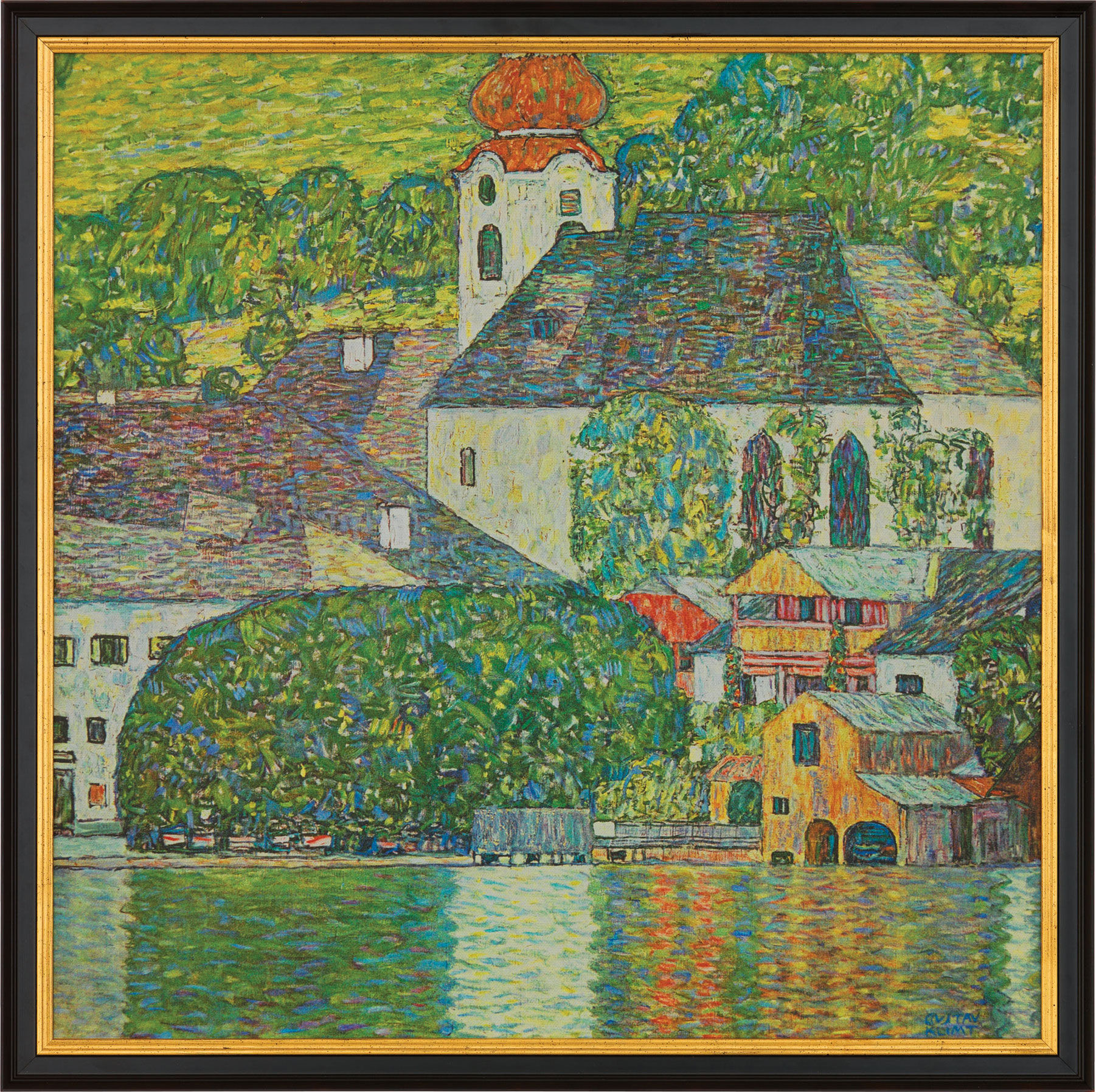 "Painting ""Church in Unterach am Attersee"" (1916) Framed"