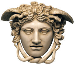 "Relief ""The Head of Medusa"" (original size), artificial marble"