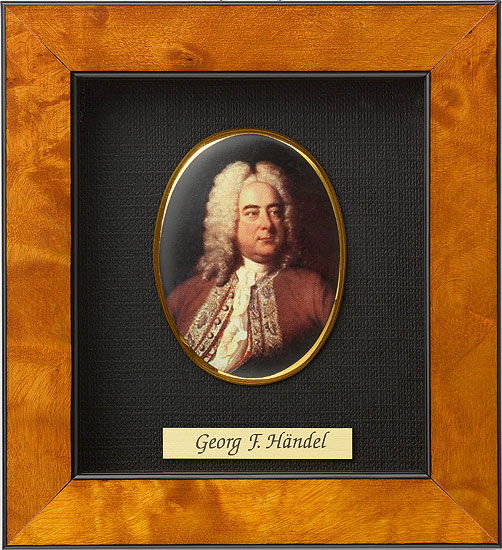 Miniature portrait of Georg. F. Händel (1685-1759), Porcelain