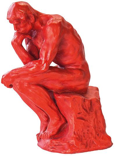 "Auguste Rodin: Skulptur ""Der Denker"" (26 cm), Version in Kunstguss rot"