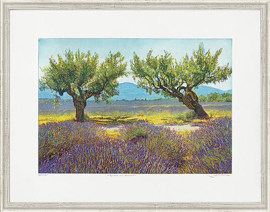 "Günther Hermann: Painting ""Apricots and Lavender"", Framed"