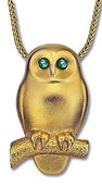 "Necklace ""Emerald Owl"", gilded 925 Sterling silver"