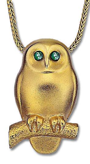 "Christiane Wendt: Necklace ""Emerald Owl"", gilded 925 Sterling silver"