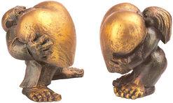 """Skulpturenpaar """"Heart of Gold"""" im Set, Kunstguss"""