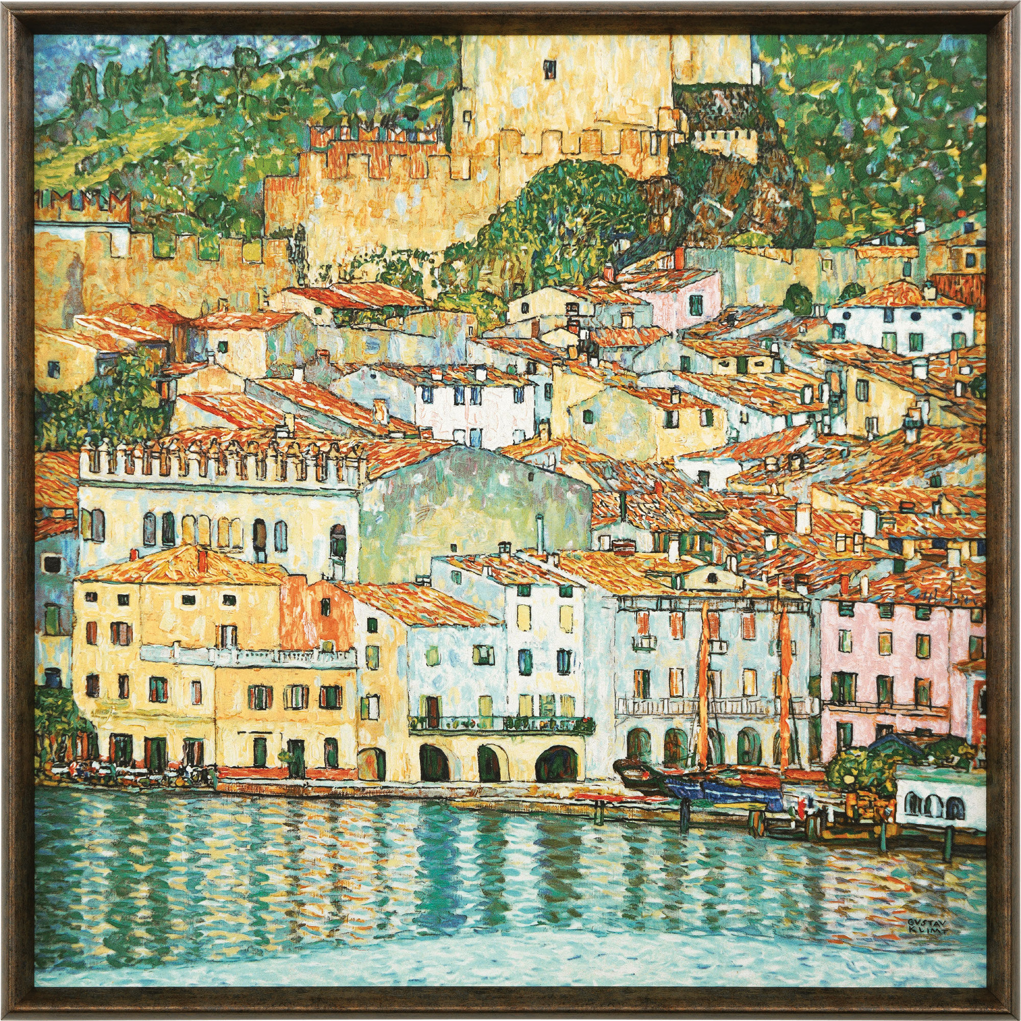 "Painting ""Malcesine on Garda Lake"" (1913) with frame"