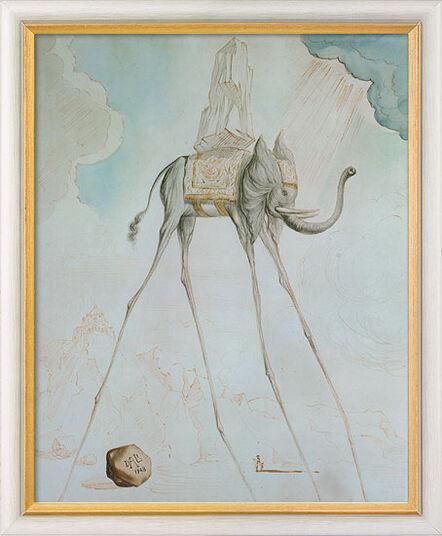 "Salvador Dalí: Bild ""L'Éléphant Giraffe"" (1948), gerahmt"