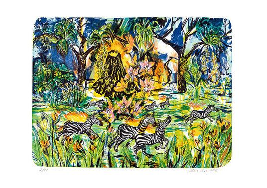 """Ariane Boss: Bild """"Zebras. Brennend. Rennend"""" (2008), ungerahmt"""