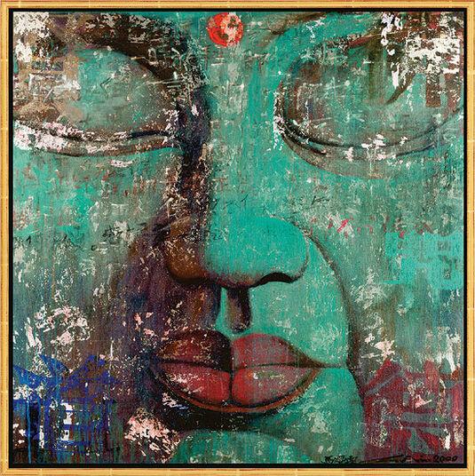 "Ma Tse Lin: Bild ""Bouddha turquoise"", gerahmt"