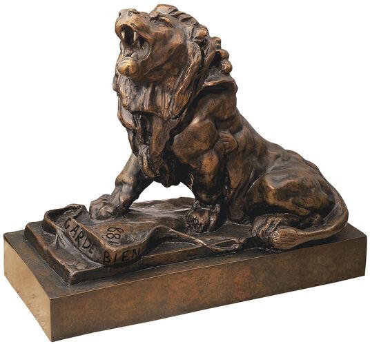 """Auguste Rodin: """"The Wounded Lion"""" (Le lion qui pleure), bronze"""