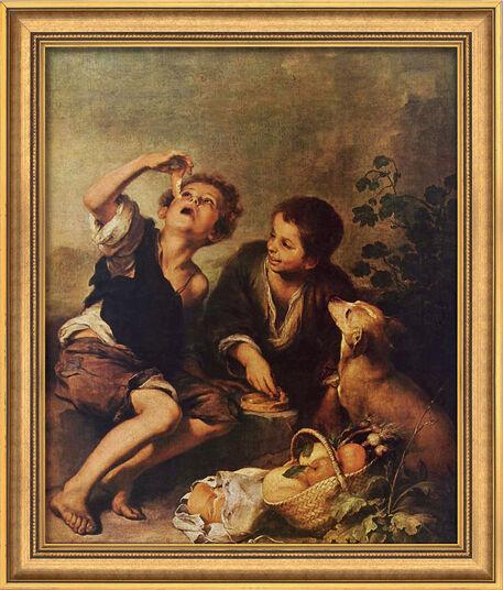 """Bartolomé E. Murillo: Bild """"Die Pastetenesser"""" (um 1675), gerahmt"""