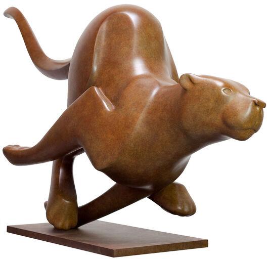 "Evert den Hartog: Skulptur ""Rennender Puma Nr. 2"", Bronze braun"