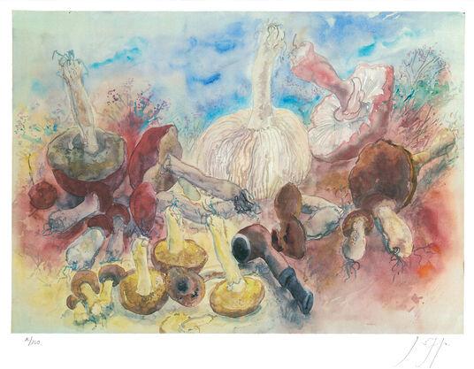 """Günter Grass: Bild """"Pilze und meine Pfeife"""" (2002)"""