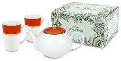 Tealicious Iron-red & Gold: The Tea-pot And 2 Cups in A Set