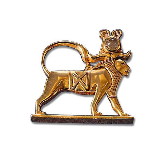 "Ancient Egyptian zodiac sign of ""Leo"" (23.7.-23.8.) pin brooch with a lucky stone."