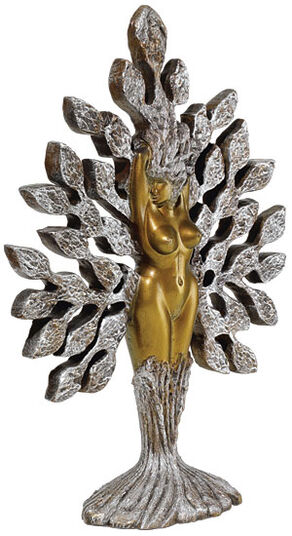 "Ernst Fuchs & Joseph F. Askew: Sculpture ""Tree of Life"", silver marble casting edition"