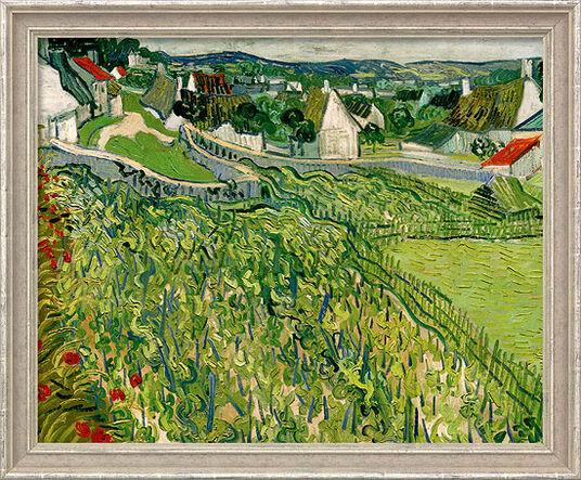 """Vincent van Gogh: Bild """"Weinberge mit Blick auf Auvers"""" (1890), gerahmt"""
