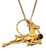 "Ancient Egyptian zodiac sign of ""Capricorn"" (22.12.-20.1.) Necklace with a lucky stone"
