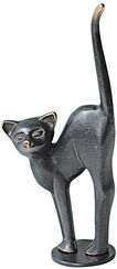 Sculpture 'Cat with its Back Arched', bronze