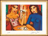 """Bild """"Zwei Frauen im Café"""", gerahmt"""