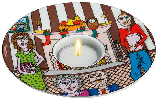 """James Rizzi: Teelicht """"Christmas With The Family"""", Porzellan"""