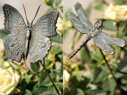 "Set of garden Plugs ""Butterfly and dragonfly on bronze bar"""
