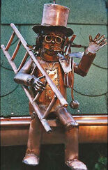 "Sculpture ""Chimney Sweeper for Roof Gutter"", copper"