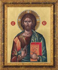 "Bild ""Christus Pantokrator"" mit Swarovski-Kristallen, gerahmt"