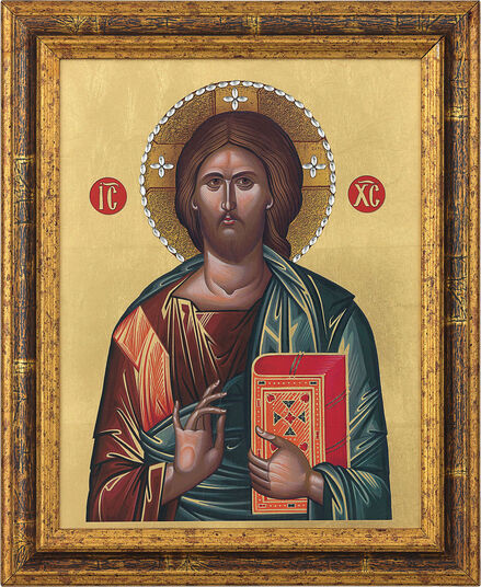 "Picture ""Christ Pantocrator"" with Swarovski crystals"