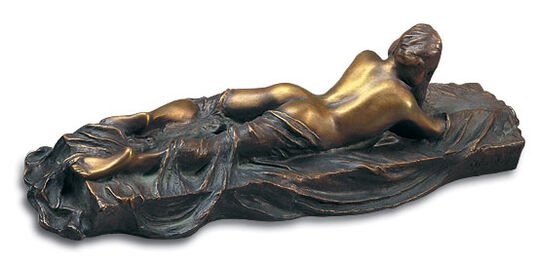 "Meta Morfosi: Sculpture ""Lying Nude with Scarf I"", bronze"