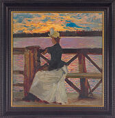 "Picture ""Marie galls on the Kuhmoniemi Bridge"" (1890) in frame"