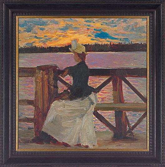"""Akseli Gallen-Kallela: Bild """"Marie Gallén auf der Kuhmoniemi-Brücke"""" (1890), gerahmt"""