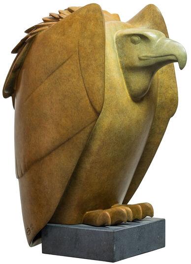 """Evert den Hartog: Skulptur """"Geier Nr. 2"""", Bronze braun/grün"""
