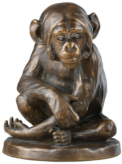 "Johann Robert Korn: Skulptur ""Schimpanse"" (1896), Version in Steinguss bronziert"