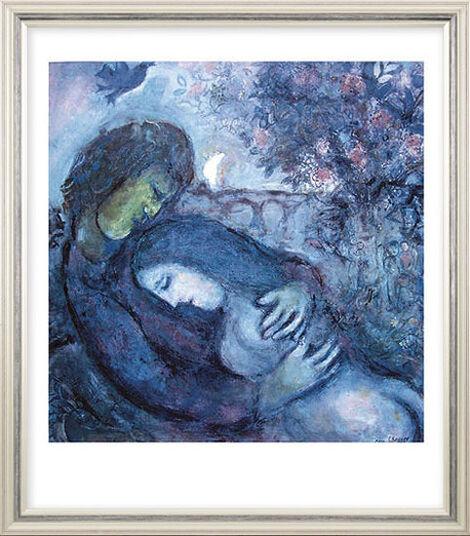 """Marc Chagall: Bild """"Traum der Liebenden"""",  1962, gerahmt"""