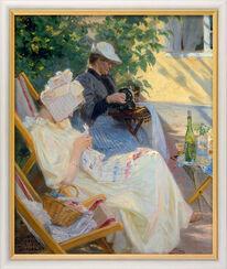 """Bild """"Zwei Frauen im Garten (In der Laube)"""" (1892), gerahmt"""